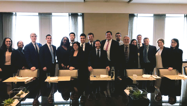 New York Program students and director Erol Balkan visited with Citigroup's Clayton Hale '94 and Jeffrey Schackner '89.