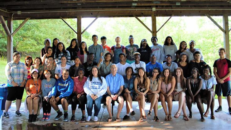 Opportunity Programs Class of 2021 students gather with President David Wippman for a 4th of July picnic.