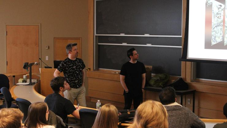 Jim Zub, left, and Steve Orlando '08 talk about their work as graphic novelists.