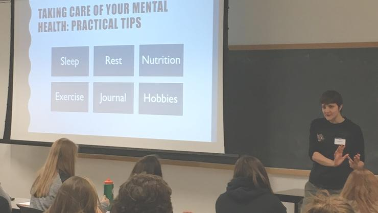Mental performance coach Kat Longshore shares tips with student athletes and coaches at the Peak Performance Symposium.