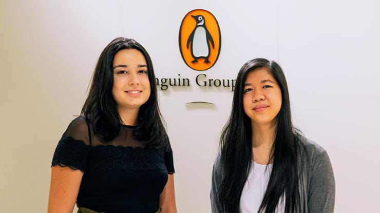 Penguin Random House interns Maria Saenz '19 and Michelle Chung '20.