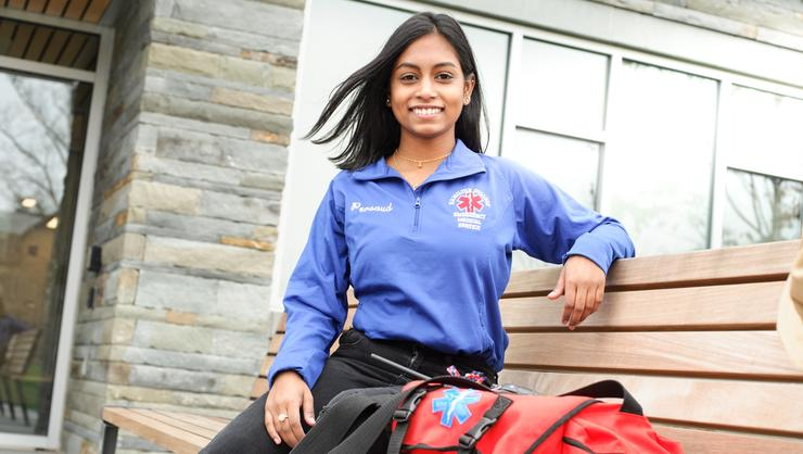 EMT Serena Persaud '20 ready to respond.