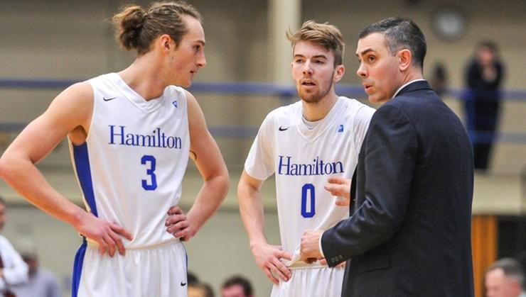 Joe Pucci '18 (#3), Tim Doyle '19 (#0) and head coach Adam Stockwell have the Continentals 14-0 and ranked 14th in the Jan. 15 D3hoops.com poll.
