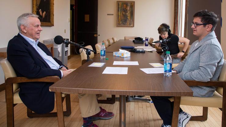 Rodger Potocki (left) and Eric Kopp '22 (right) talk as One Small Step facilitator listens