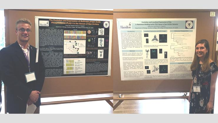 Conor Powers '17 and Alexa Horn '17 presented senior thesis research at the North American Echinoderm Conference.