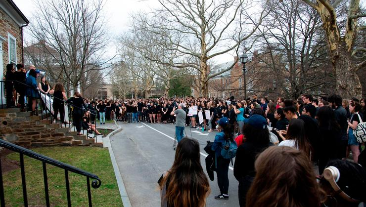 President Wippman addresses the crowd gathered in front of Buttrick Hall