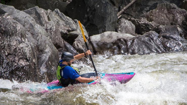 Sam Bernstein '17 paddling in the Zoar Gap rapid on the Deerfield River