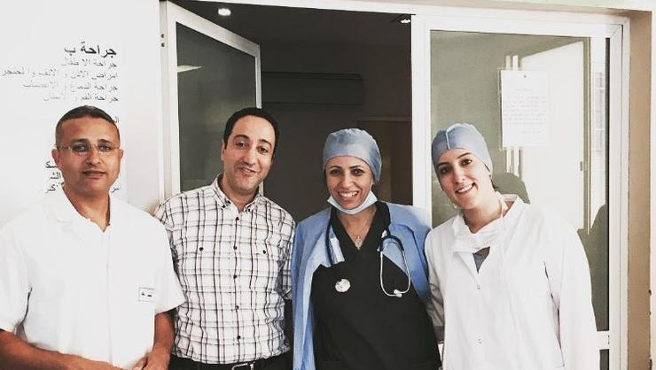Dr. Bernoussi, Dr. Benmansour, Dr. Haquimi and Sofia Rachad '18 at Hôpital Mohamed Bouafi, in Morocco.
