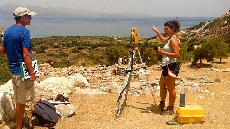 Back when she was at Hamilton, Ianno Recco '16, right, did research in Crete with Professor John McEnroe.
