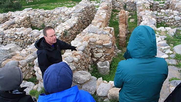 Professor John McEnroe with his seminar class in Crete.