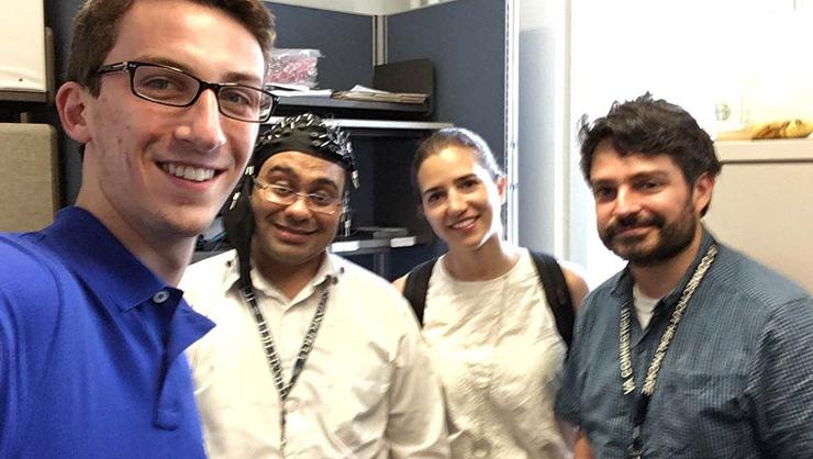 Tyler Rhind '18 and his fellow researchers at VA Medical Center in New Haven, Conn.