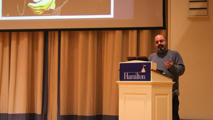 Duke University Professor of Islamic Studies Omid Safi speaks in the Chapel at Hamilton.
