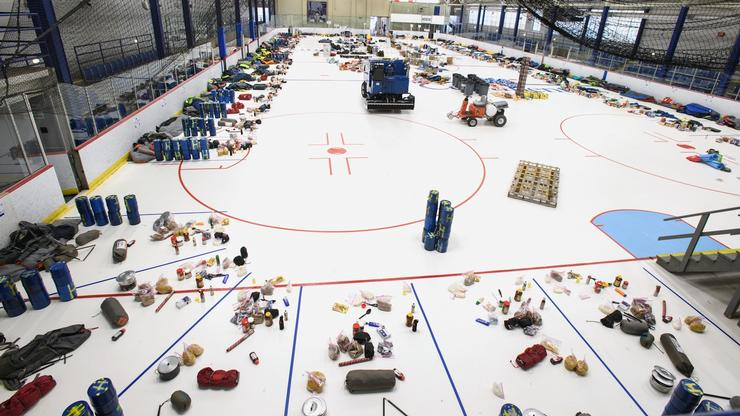Trip supplies are carefully laid out in Sage Rink for first-year students