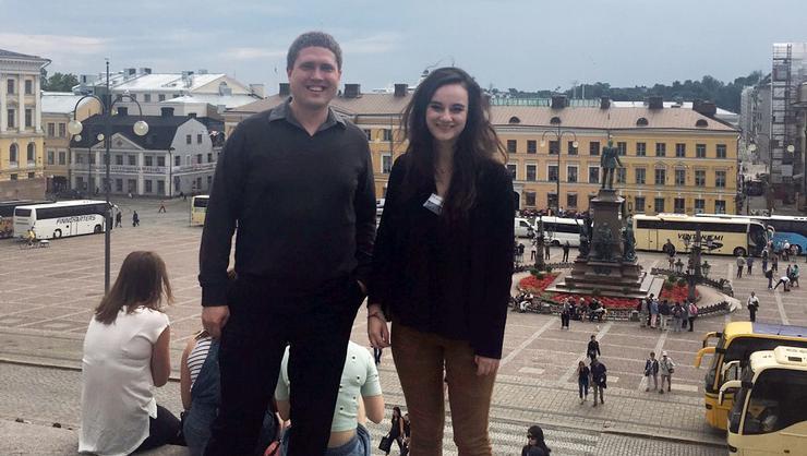 Professor Seth Schermerhorn and Lillia McEnaney '17 in Senate Square, Helsinki.