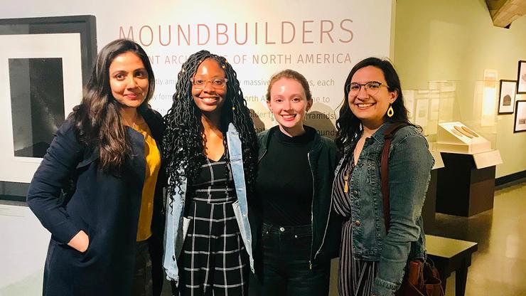 From left: Professor Mariam Durrani and seniors Marie Fouche, Meredith Jones, and Victoria Anibarro.