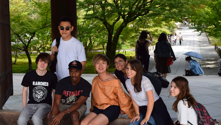 Richard Njoroge '18 and friends in Japan