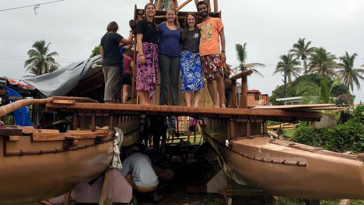 Emma Karsten '18, Olivia Shehan '18, Chloe Keating '18 and Jake Blount '17 in Fiji.
