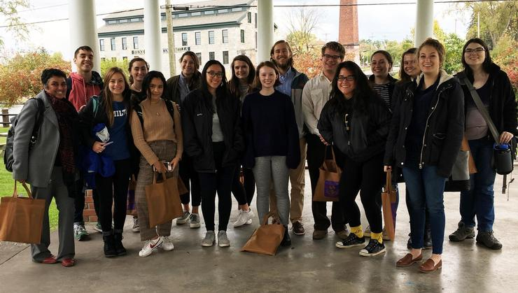 """Assistant Professor of Literature Pavitra Sundar and her class, """"Indians, Aliens, and Others,"""" at Seneca Falls."""