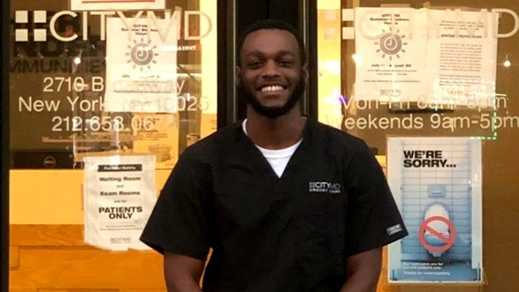 Shaquelle (Shaq) Levy '20 outside CityMD in Manhattan, where he is a medical scribe.