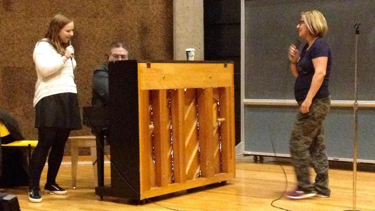 Janis Siegel P'16, right, works with Nicole Mion '16. They were accompanied by Rick Montalbano, jazz piano instructor.