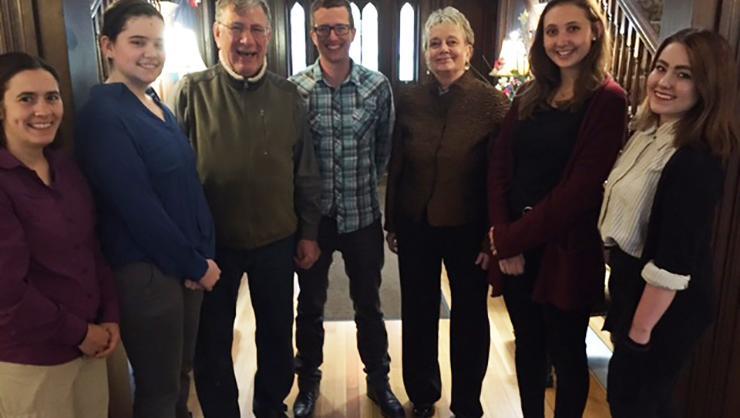 From left: Professor Anne Feltovich, Beth Prescott '17, Professor Carl Rubino, Professor Jesse Weiner, Professor Barbara Gold, Rebecca DeTurk '17, Tina Naston '20.