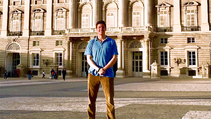 Rob Arrix '19, at the Palacio Real de Madrid during his semester studying in Spain.