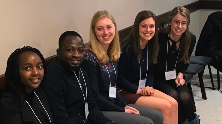 St. Elizabeth's interns, from left: Risper Kirui '19, Tatenda Chakoma '18, Kaia Miller '18, Caroline Chivily '19, Micaela Tobin '20.