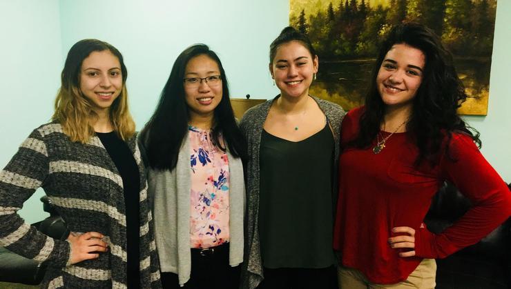 Joana Mora '18, Choiwing Yeung '19, Hana Lindsey '20 and Cilly Geranios '19.