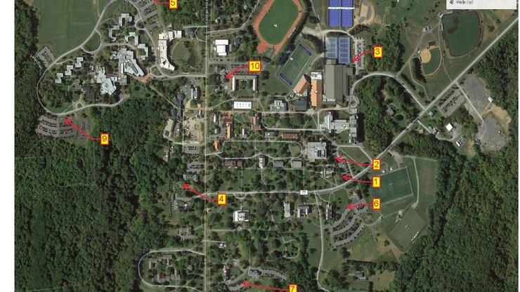 Vehicle charging locations on campus