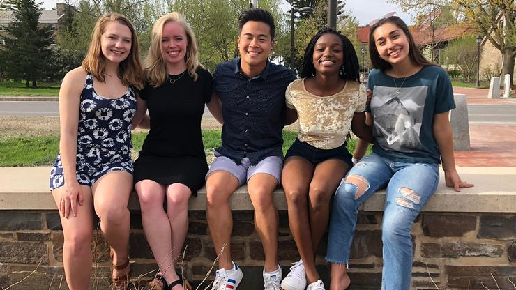 Five members of the Class of 2018 will travel to France to serve as <em>assistants de langue</em>, teaching English to students at either the secondary or primary level. From left: Jade Alvillar, Caroline Rock, Alan Yeh, Rafiatou Ouro Aguy, and Maria Lazgin Ciercielli.