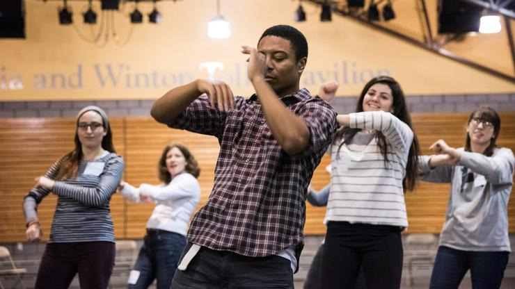 Lashawn Russsell-Ware '19 demonstrates some dance moves.