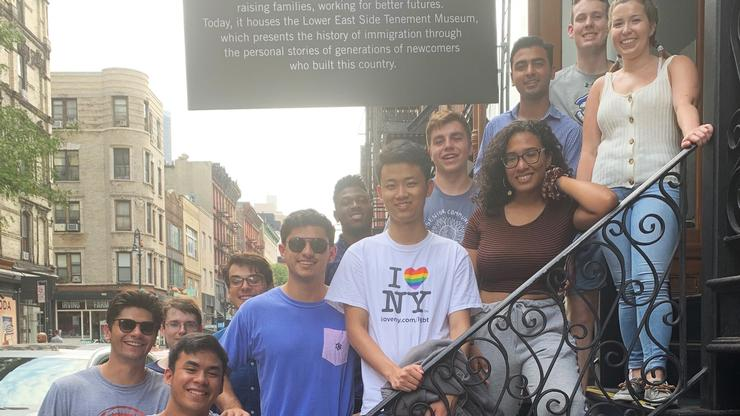 Students in the New York City Program tour the Tenement Museum.