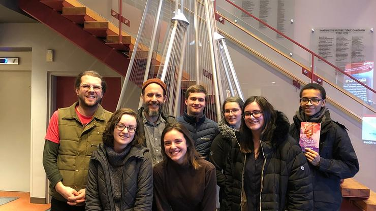 From left: Lighting Designer Seth Reiser, Erin Urbaniak '21, Jeff Larson, Kathryn Kearny '20, Eric Nahm '21, Abby Kaplan '19, Maddy Howe '22, and Paul Turner '20.