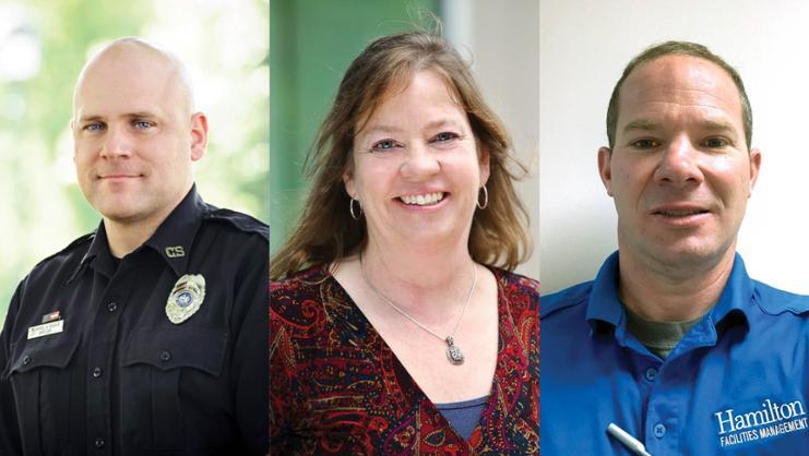 The 2021 Tobin Award winners, from left, Mike Houle, Brenda Davis, and Travis Herzog.