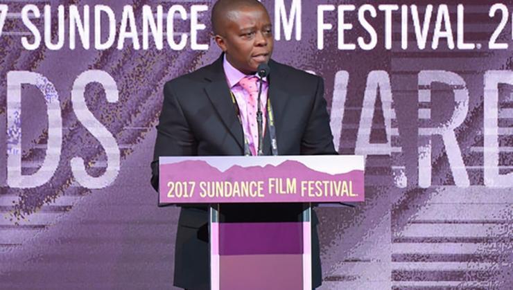 Yance Ford speaking at the 2017 Sundance Film Festival awards night ceremony.