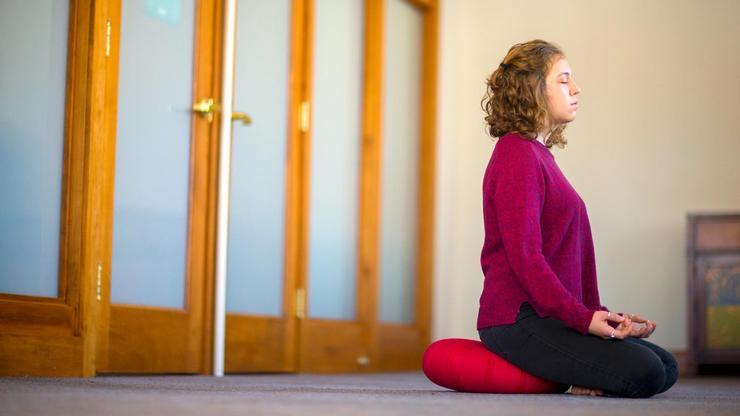 Emma Reynolds '17 in the Chapel's Meditation Room.