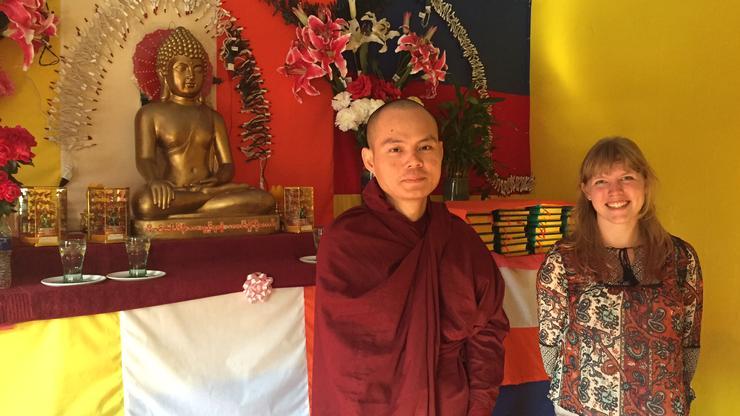 Shannon Boley '17, right, at Nandamala Buddhist temple in Utica with Ko Salla the monk there.