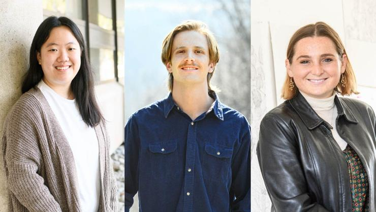 2021 Watson Fellowship recipients Jiin Jeong, Liam Prum, and Amy Harff