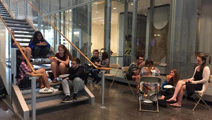 Hamilton students on campus this summer enjoyed a pizza party at the Wellin Museum.