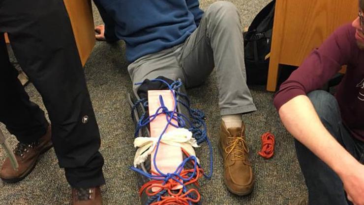 Dan Wall '19 in a leg splint.