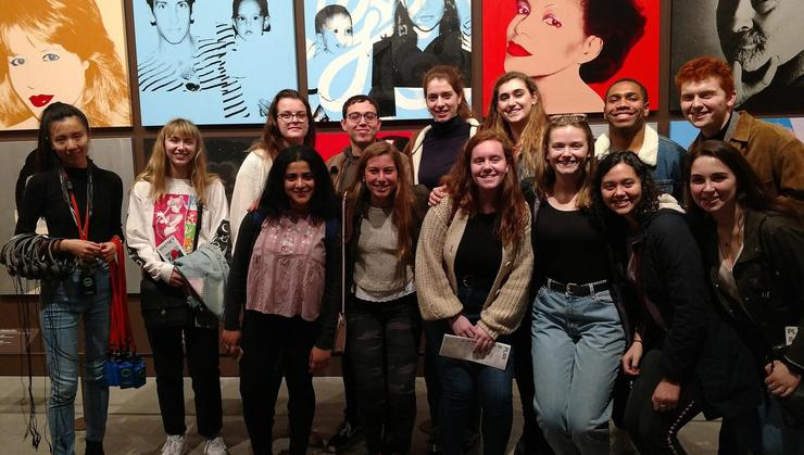 Students on the Hamilton in New York City Program at the Whitney Museum with Xin Wang '09.