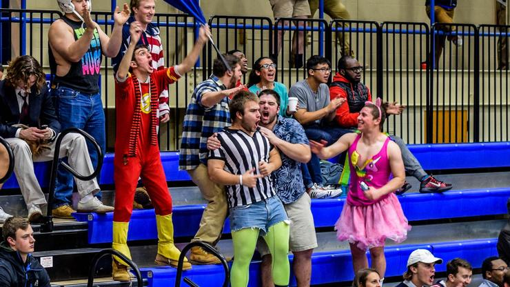 A colorful cheering section at a recent men's basketball game.