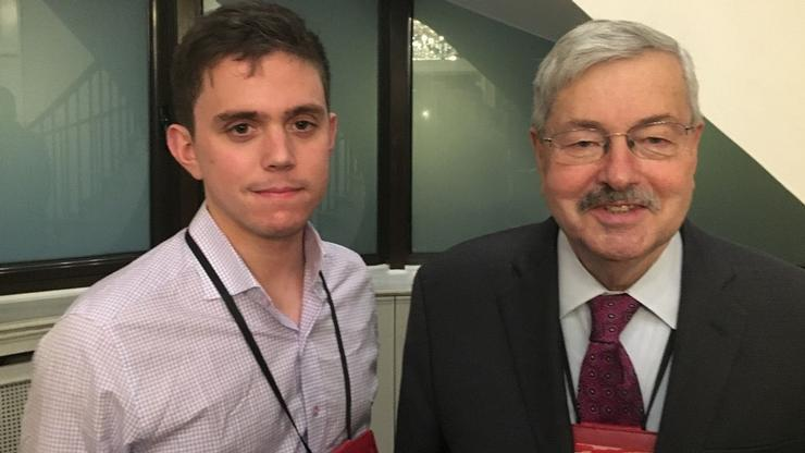 William Utzschneider '19 and U.S. Ambassador Terry Branstad