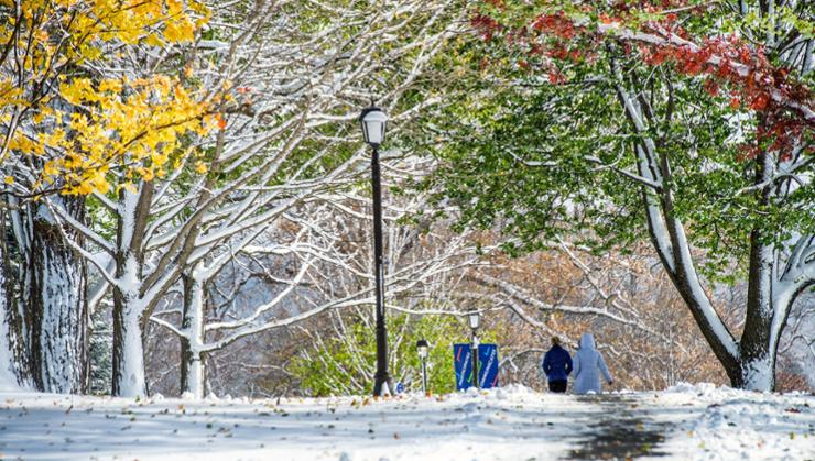 A November snow blanketed campus.