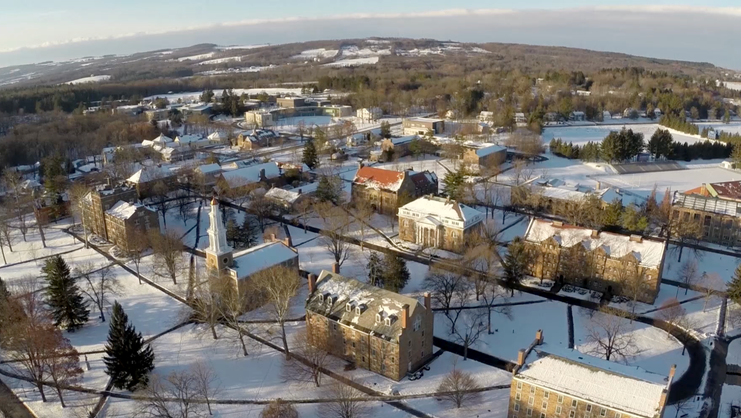 aerial view of campus in the winter