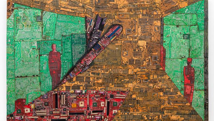Elias Sime. Tightrope 8, 2009-2014. Reclaimed electronic components on panel, 44 1/16 x 70 13/16 in. (112 x 180 cm). © Elias Sime.