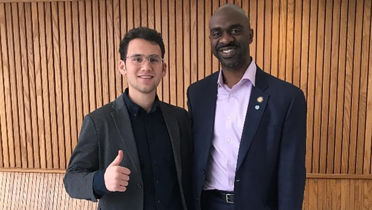College Democrats of New York President Jon Gerstein '21 and DNC Vice Chair & Assemblyman Michael Blake