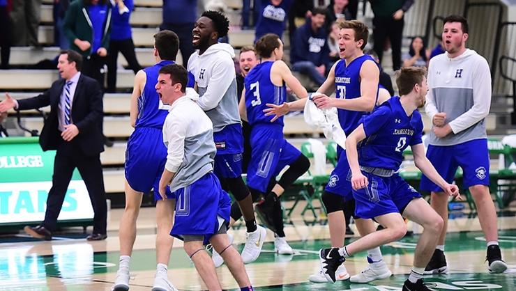 The Continentals celebrate their second round win over York (Pa.) in the NCAA Division III Men's Basketball Championship on Saturday night.