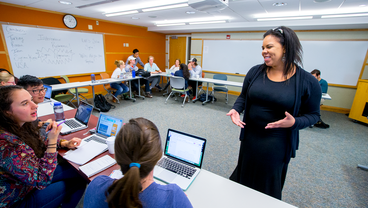 Assistant Professor of Government Kira Jumet with one of her classes.