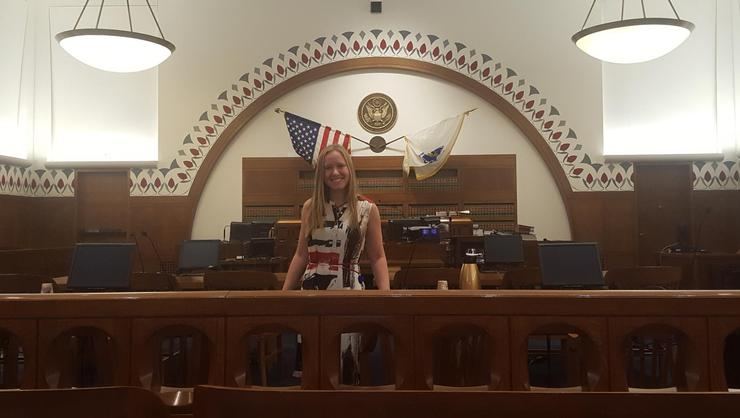 Emily Granoff '18 during her summer internship working with the nonprofit Discovering Justice, which is housed in the Moakley Federal Courthouse in Boston.